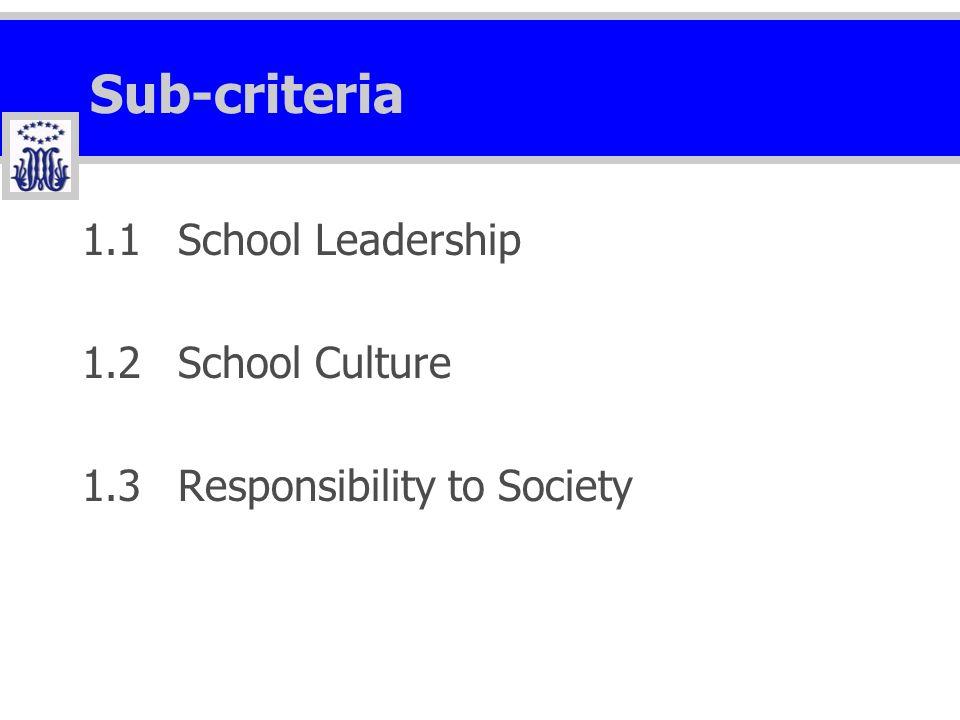 Sub-criteria 1.1School Leadership 1.2School Culture 1.3Responsibility to Society