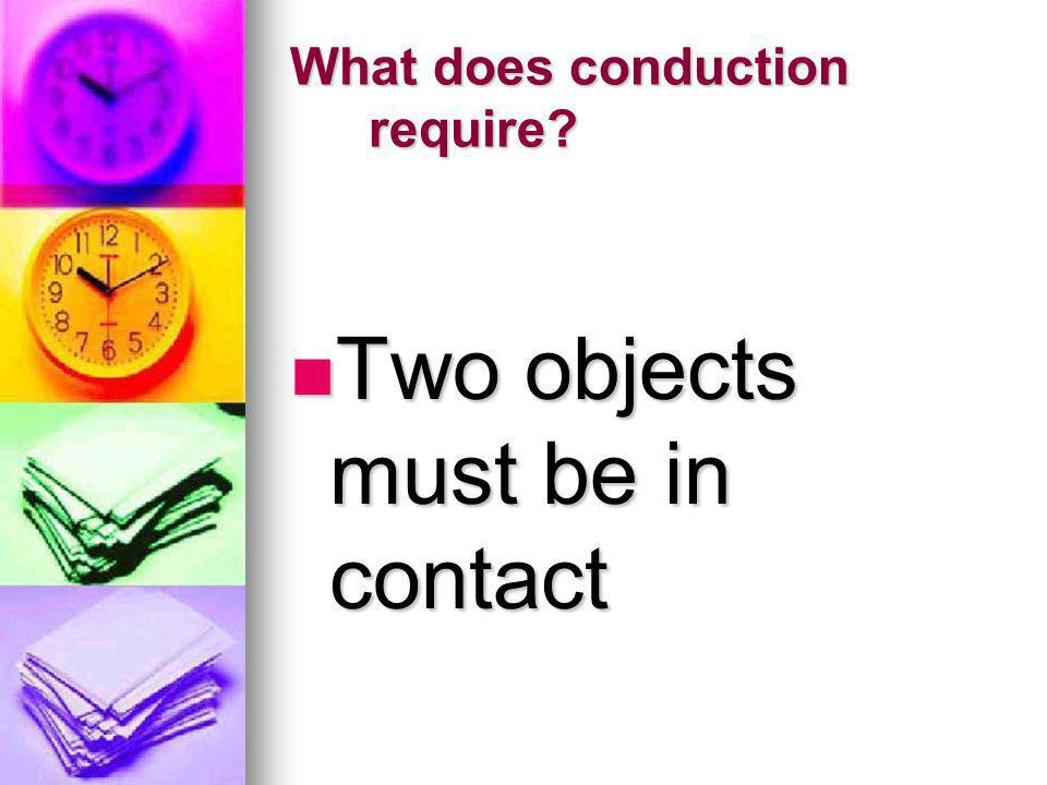 What does conduction require? Two objects must be in contact Two objects must be in contact