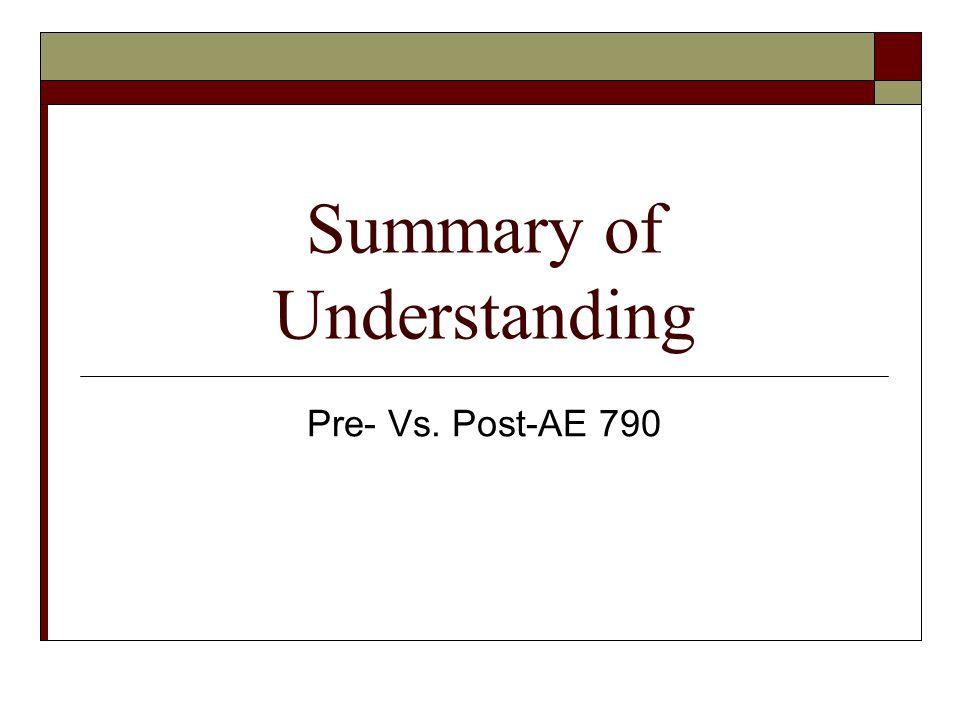 Summary of Understanding Pre- Vs. Post-AE 790