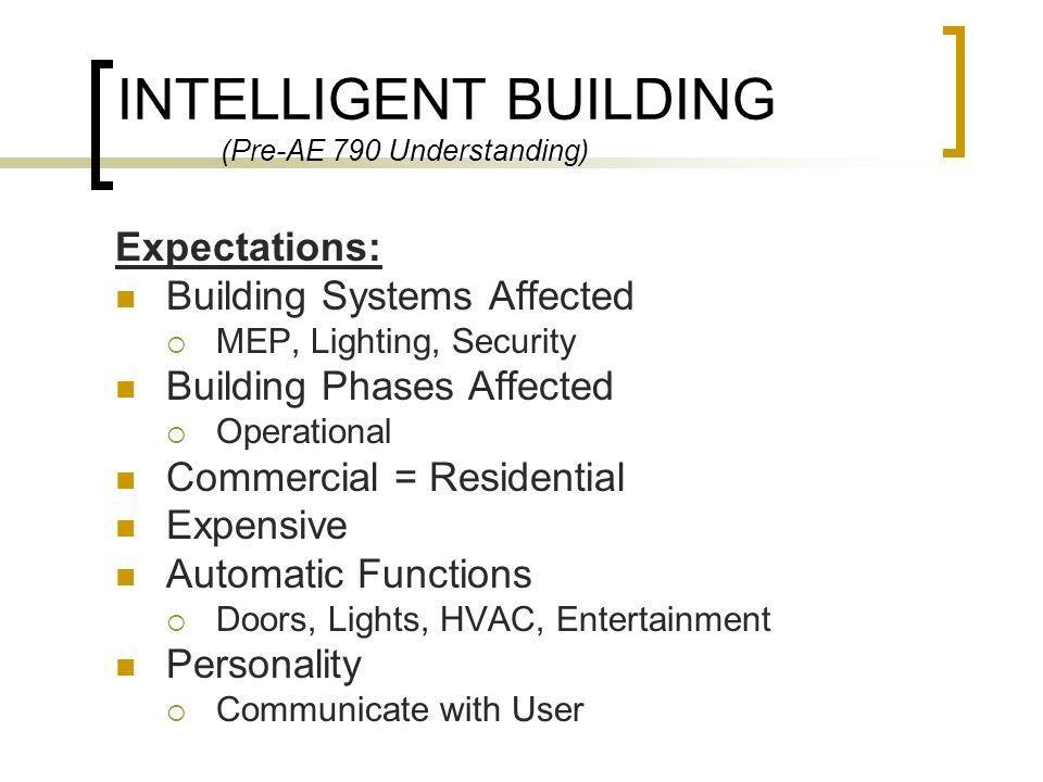 INTELLIGENT BUILDING (Pre-AE 790 Understanding)