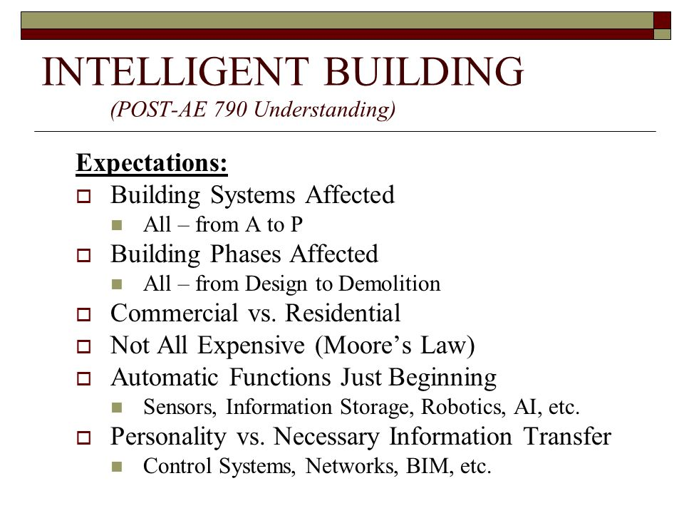 INTELLIGENT BUILDING FOCUS: – Communication Systems Where In a Post-AE790 Understanding Does It Fit Why Is It Important What Systems are Currently Available How Do These Systems Compare to Expectations