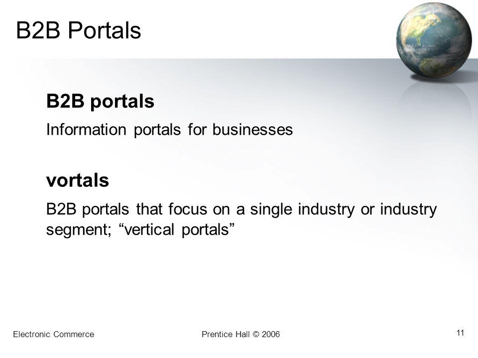 Electronic CommercePrentice Hall © 2006 11 B2B Portals B2B portals Information portals for businesses vortals B2B portals that focus on a single indus