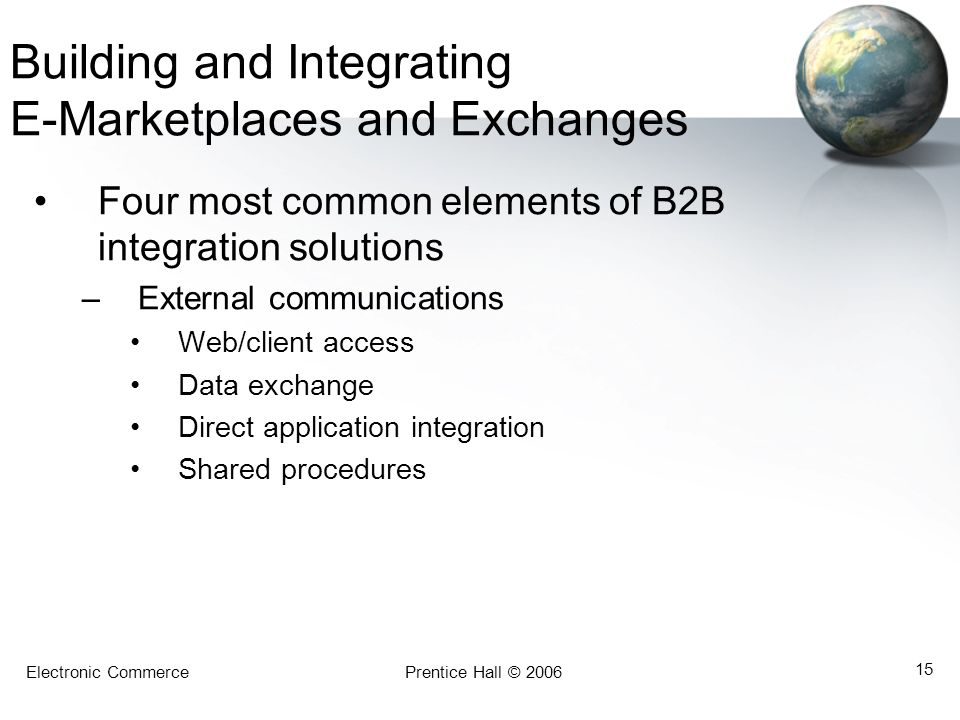 Electronic CommercePrentice Hall © 2006 15 Building and Integrating E-Marketplaces and Exchanges Four most common elements of B2B integration solution