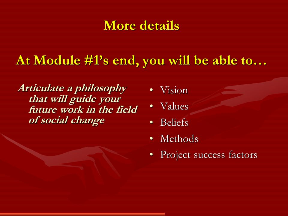 More details At Module #1s end, you will be able to… Articulate a philosophy that will guide your future work in the field of social change Vision Values Beliefs Methods Project success factors