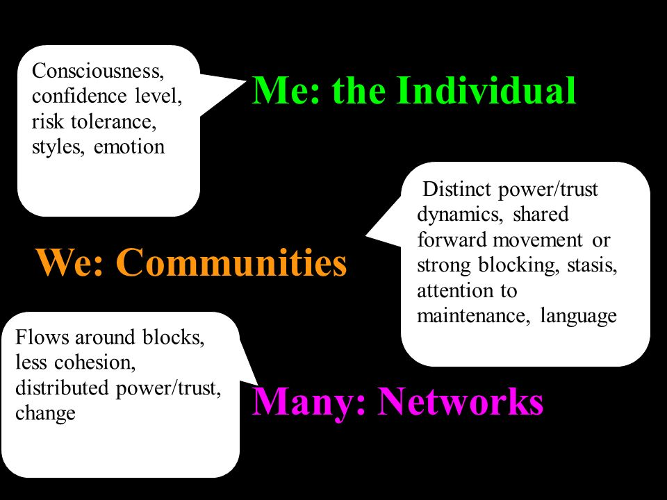 Many: Networks We: Communities Me: the Individual Consciousness, confidence level, risk tolerance, styles, emotionC Distinct power/trust dynamics, shared forward movement or strong blocking, stasis, attention to maintenance, language Flows around blocks, less cohesion, distributed power/trust, change