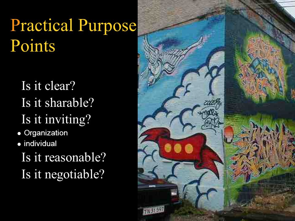 Practical Purpose Points Is it clear? Is it sharable? Is it inviting? Organization individual Is it reasonable? Is it negotiable?
