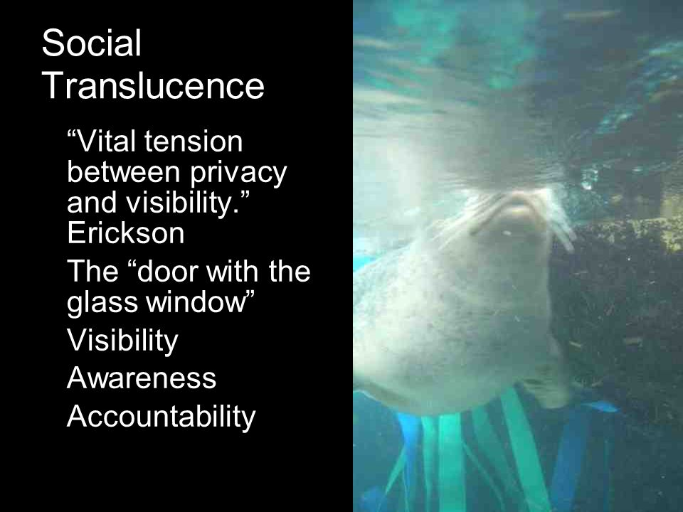 Social Translucence Vital tension between privacy and visibility. Erickson The door with the glass window Visibility Awareness Accountability