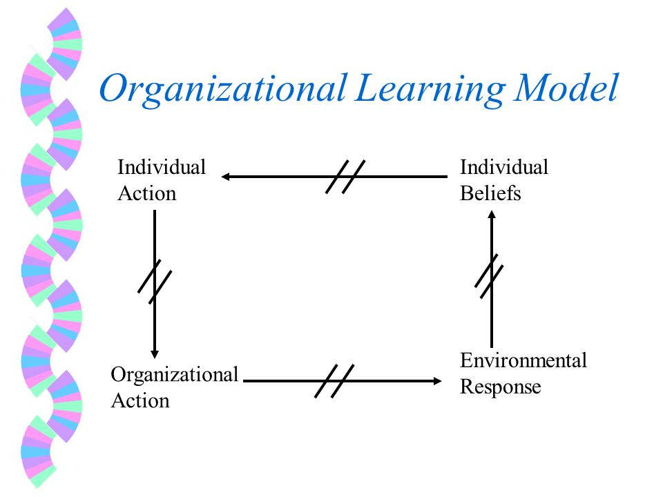 Organizational Learning Model Individual Action Individual Beliefs Organizational Action Environmental Response