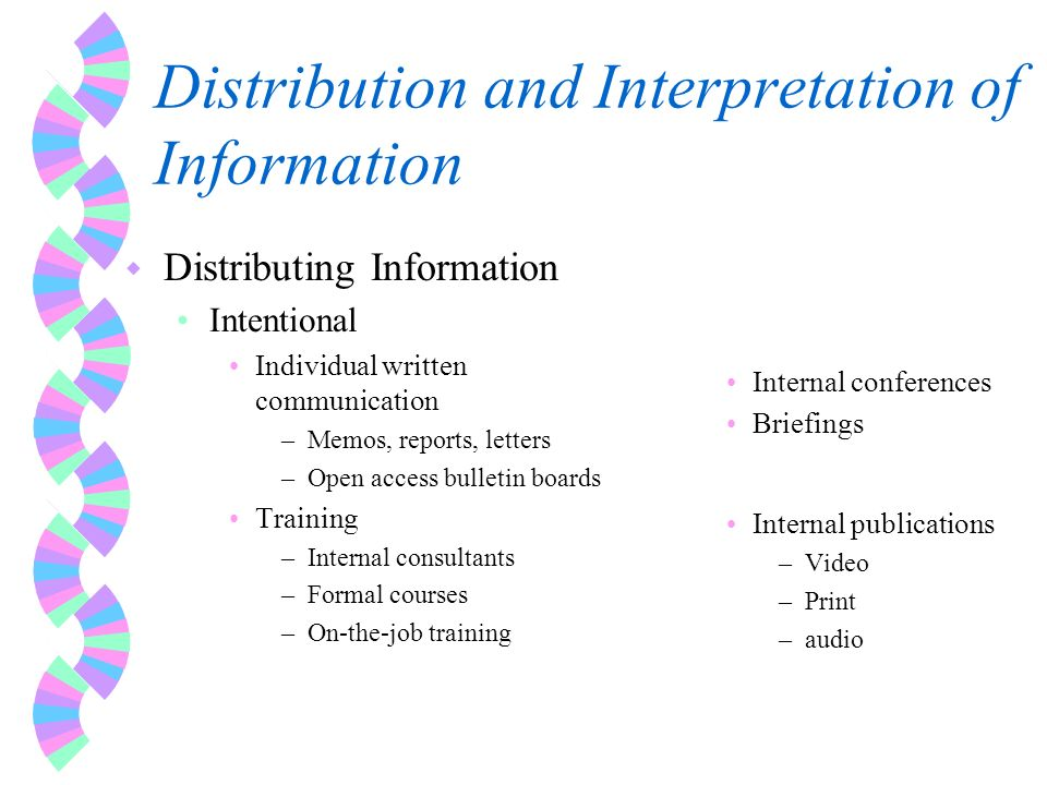 Distribution and Interpretation of Information w Distributing Information Intentional Individual written communication –Memos, reports, letters –Open access bulletin boards Training –Internal consultants –Formal courses –On-the-job training Internal conferences Briefings Internal publications –Video –Print –audio