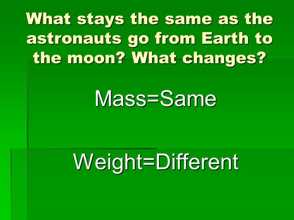 What stays the same as the astronauts go from Earth to the moon? What changes? Mass=SameWeight=Different