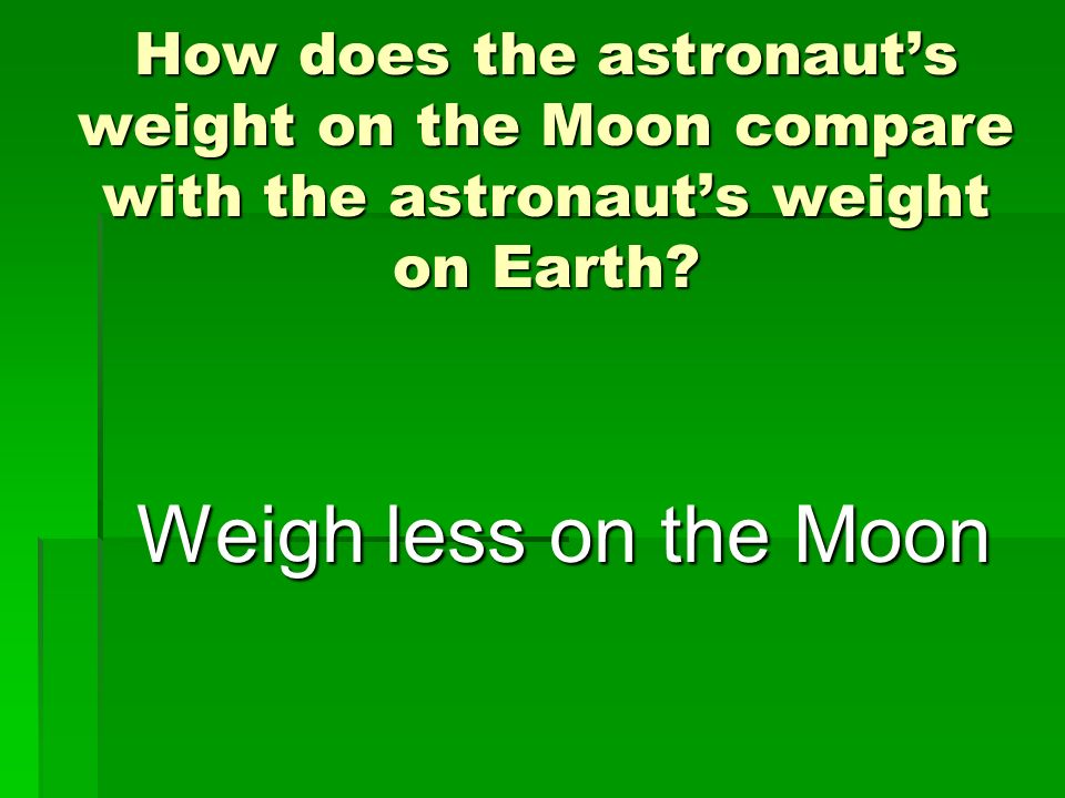 How does the astronauts weight on the Moon compare with the astronauts weight on Earth? Weigh less on the Moon