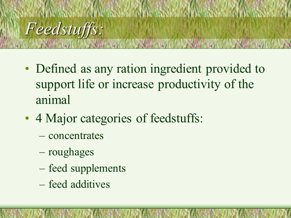 Feedstuffs: Defined as any ration ingredient provided to support life or increase productivity of the animal 4 Major categories of feedstuffs: –concen