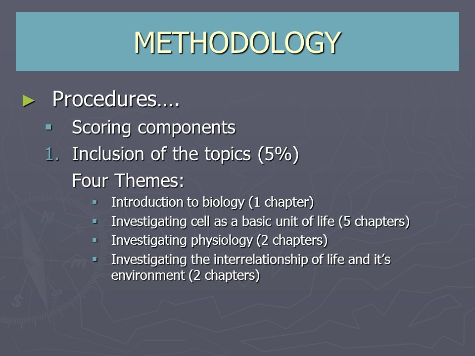 Procedures…. Procedures…. Scoring components Scoring components 1.Inclusion of the topics (5%) Four Themes: Introduction to biology (1 chapter) Introd