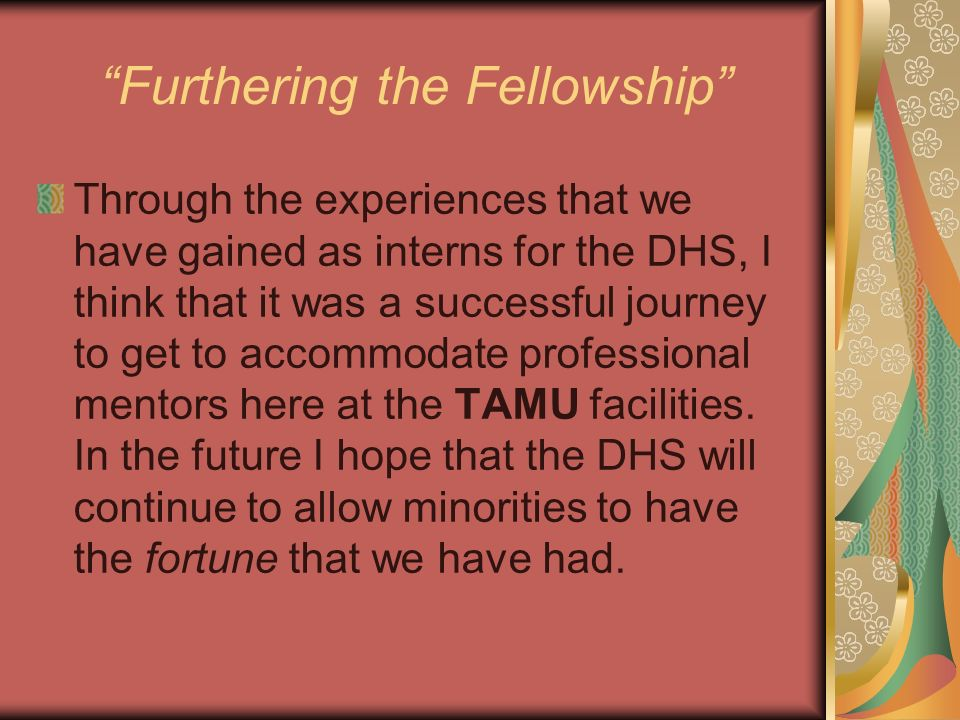 Furthering the Fellowship Through the experiences that we have gained as interns for the DHS, I think that it was a successful journey to get to accom