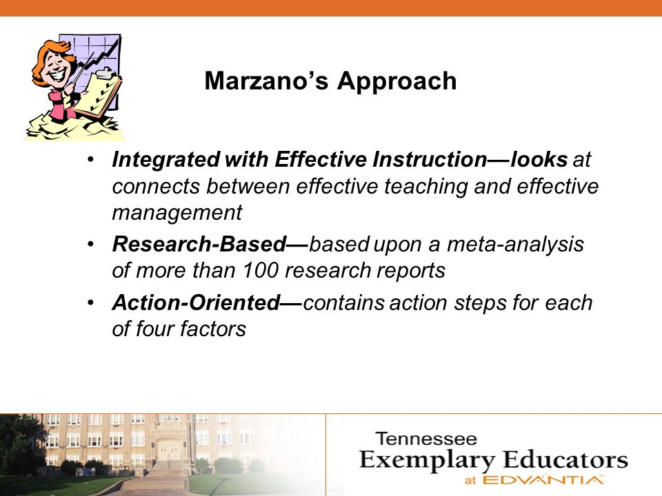 Marzanos Approach Integrated with Effective Instructionlooks at connects between effective teaching and effective management Research-Basedbased upon