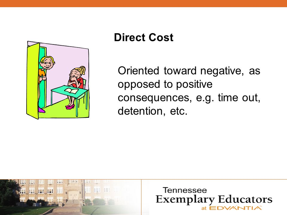Direct Cost Oriented toward negative, as opposed to positive consequences, e.g. time out, detention, etc.