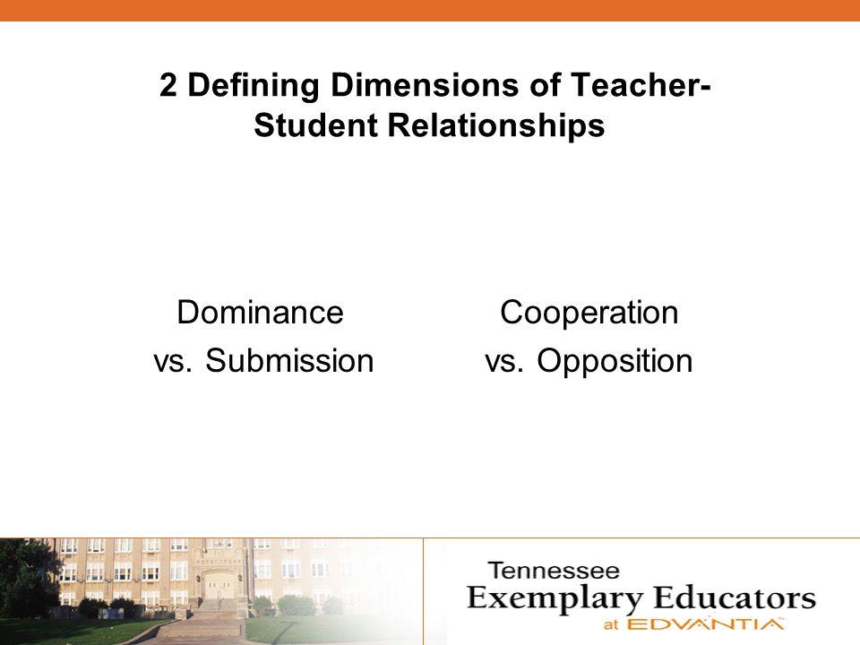 2 Defining Dimensions of Teacher- Student Relationships Dominance vs.