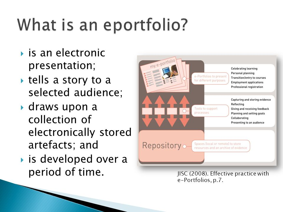 is an electronic presentation; tells a story to a selected audience; draws upon a collection of electronically stored artefacts; and is developed over a period of time.