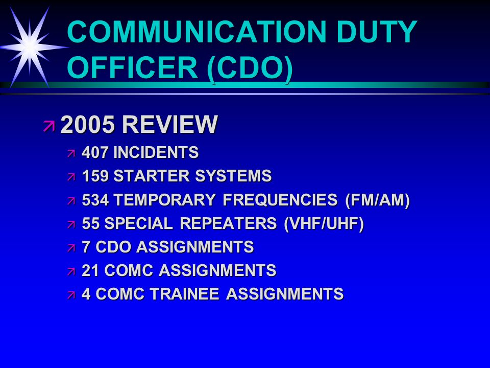 COMMUNICATION DUTY OFFICER (CDO) 2005 REVIEW 2005 REVIEW 407 INCIDENTS 407 INCIDENTS 159 STARTER SYSTEMS 159 STARTER SYSTEMS 534 TEMPORARY FREQUENCIES (FM/AM) 534 TEMPORARY FREQUENCIES (FM/AM) 55 SPECIAL REPEATERS (VHF/UHF) 55 SPECIAL REPEATERS (VHF/UHF) 7 CDO ASSIGNMENTS 7 CDO ASSIGNMENTS 21 COMC ASSIGNMENTS 21 COMC ASSIGNMENTS 4 COMC TRAINEE ASSIGNMENTS 4 COMC TRAINEE ASSIGNMENTS