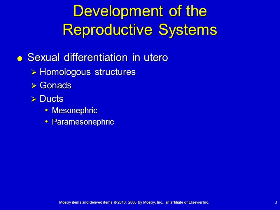 Mosby items and derived items © 2010, 2006 by Mosby, Inc., an affiliate of Elsevier Inc. 3 Development of the Reproductive Systems Sexual differentiat