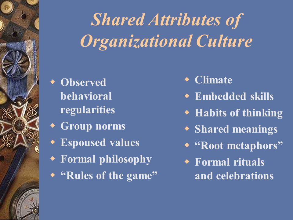 Shared Attributes of Organizational Culture Observed behavioral regularities Group norms Espoused values Formal philosophy Rules of the game Climate E