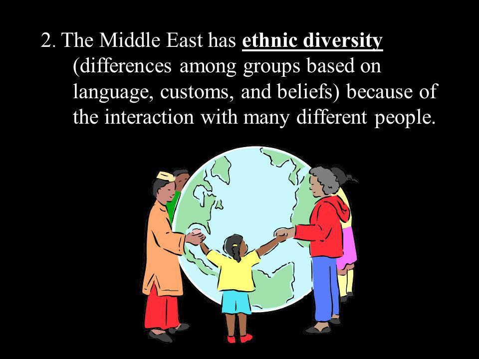 2. The Middle East has ethnic diversity (differences among groups based on language, customs, and beliefs) because of the interaction with many differ
