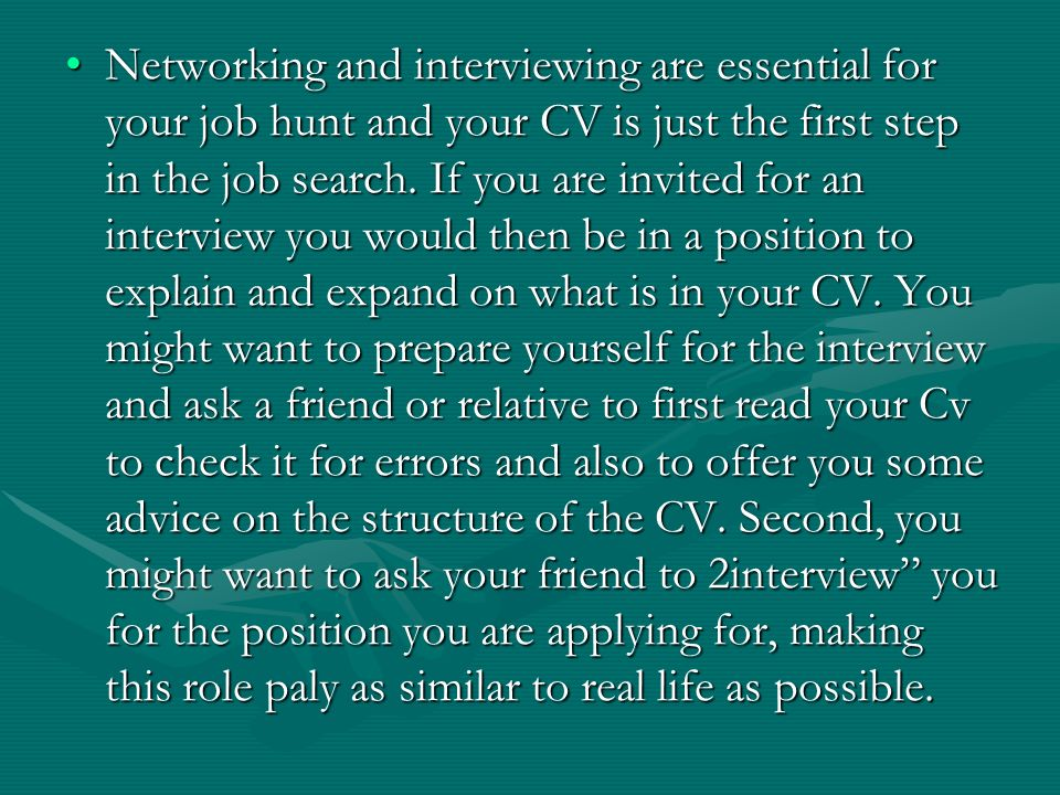 Opposite is a list of things you should not do when writing your first curriculum vitae.