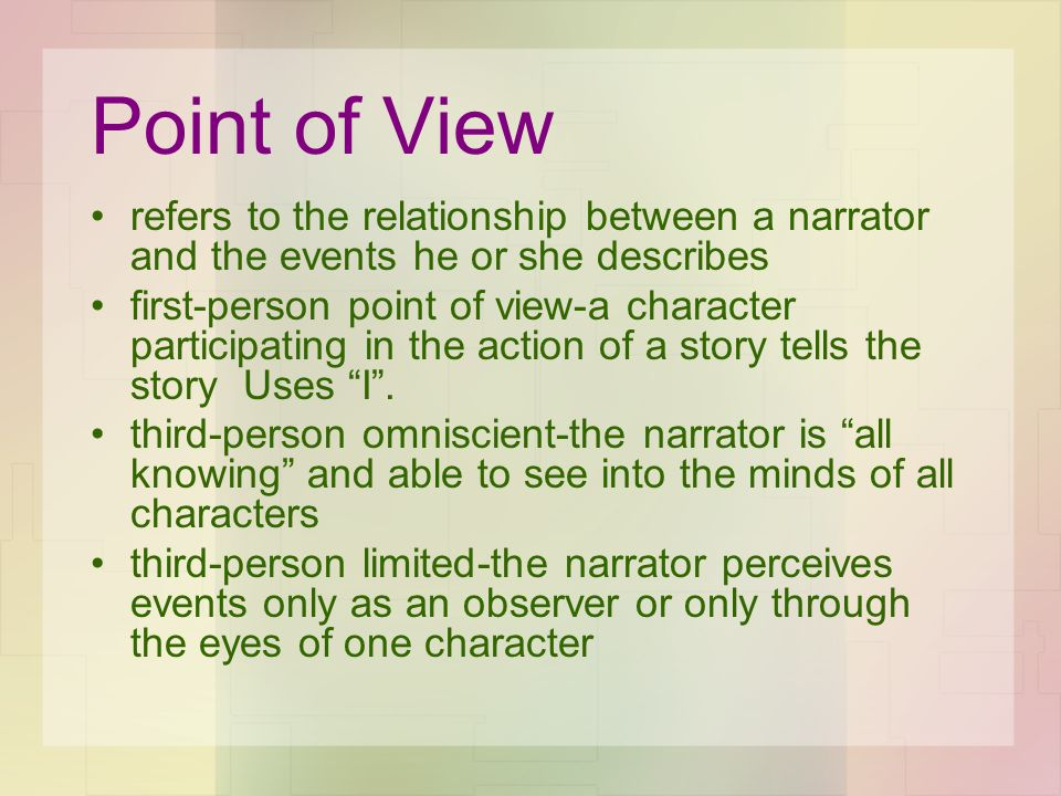 Point of View refers to the relationship between a narrator and the events he or she describes first-person point of view-a character participating in