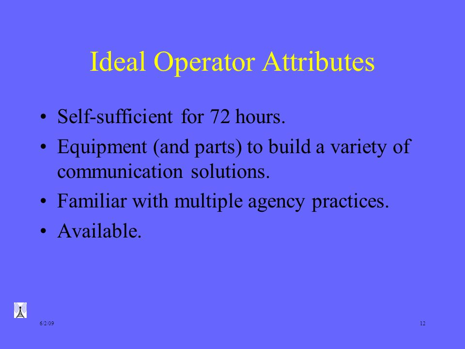 6/2/0912 Ideal Operator Attributes Self-sufficient for 72 hours.