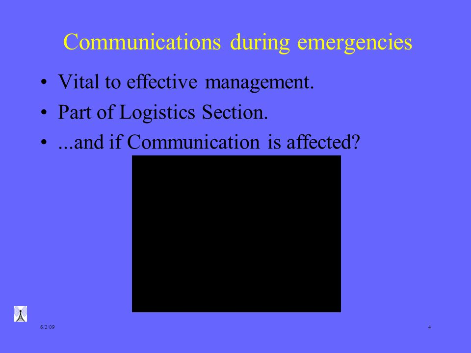 6/2/094 Communications during emergencies Vital to effective management.