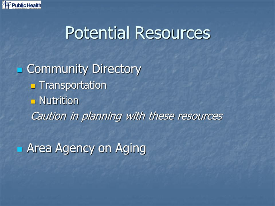 Potential Resources Community Directory Community Directory Transportation Transportation Nutrition Nutrition Caution in planning with these resources Area Agency on Aging Area Agency on Aging