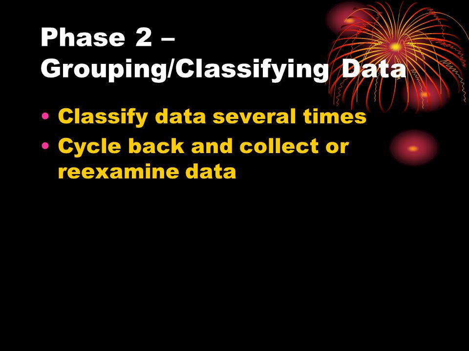 Phase 2 – Grouping/Classifying Data Classify data several times Cycle back and collect or reexamine data