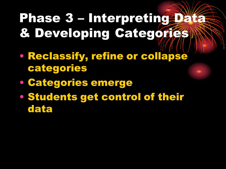 Phase 3 – Interpreting Data & Developing Categories Reclassify, refine or collapse categories Categories emerge Students get control of their data