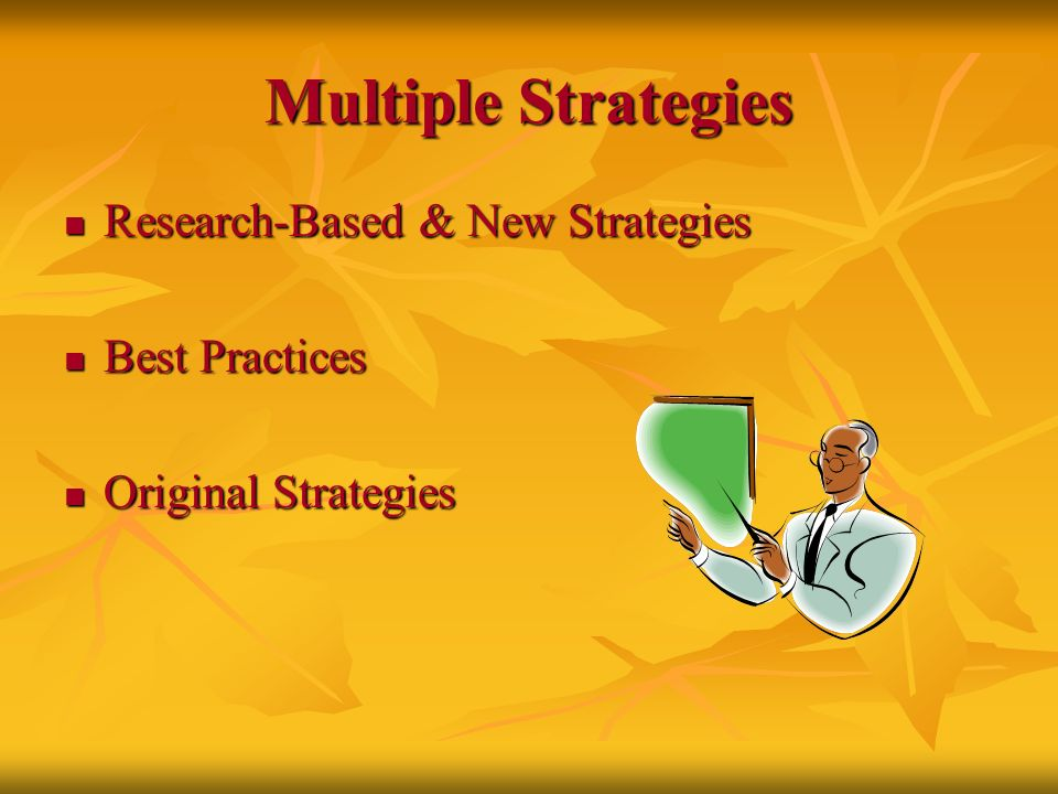 Multiple Strategies Research-Based & New Strategies Research-Based & New Strategies Best Practices Best Practices Original Strategies Original Strateg