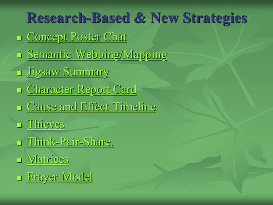 Research-Based & New Strategies Concept Poster Chat Concept Poster Chat Concept Poster Chat Concept Poster Chat Semantic Webbing/Mapping Semantic Webb