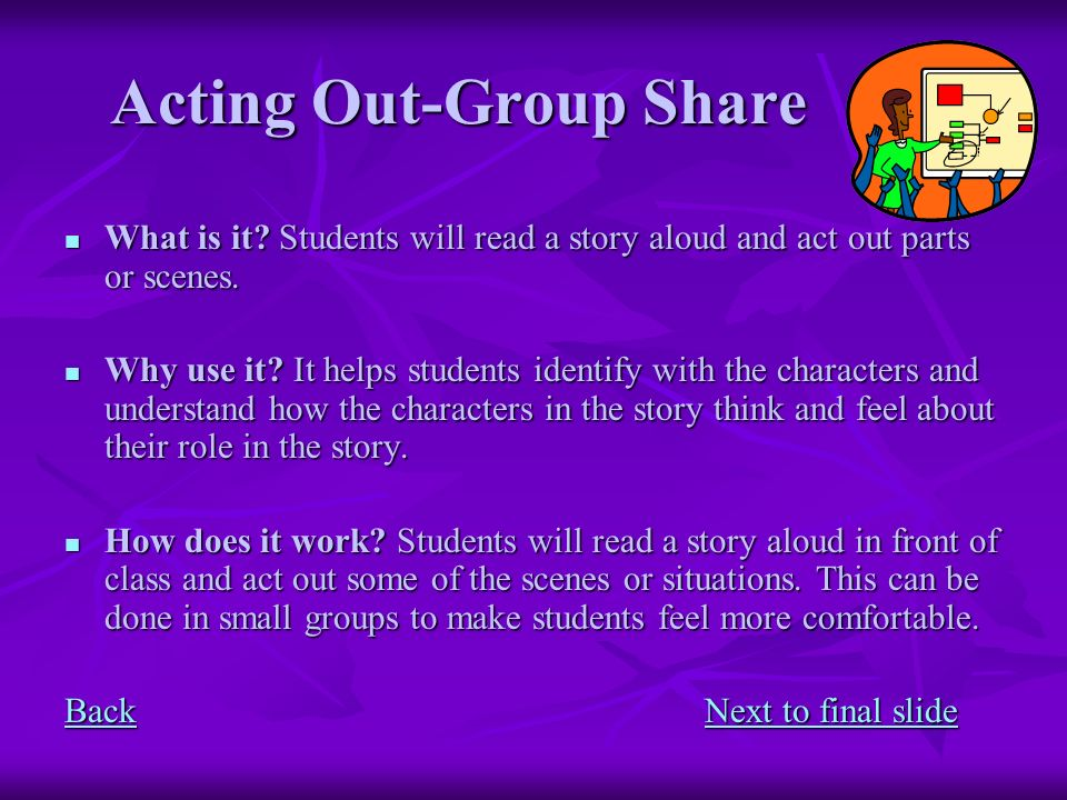 Acting Out-Group Share What is it? Students will read a story aloud and act out parts or scenes. What is it? Students will read a story aloud and act