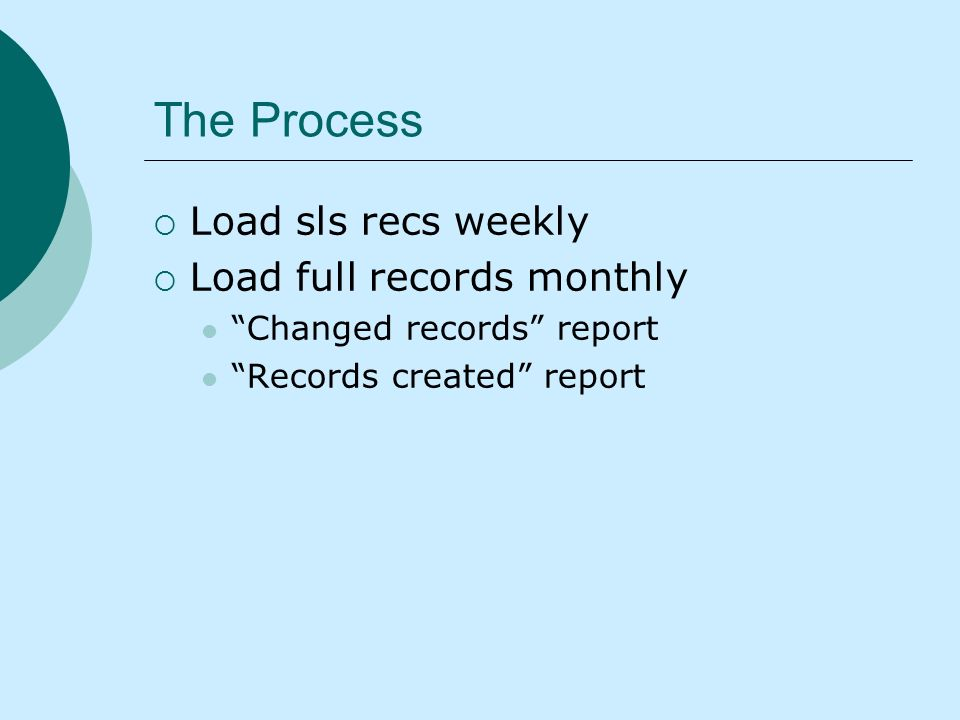 The Process Load sls recs weekly Load full records monthly Changed records report Records created report