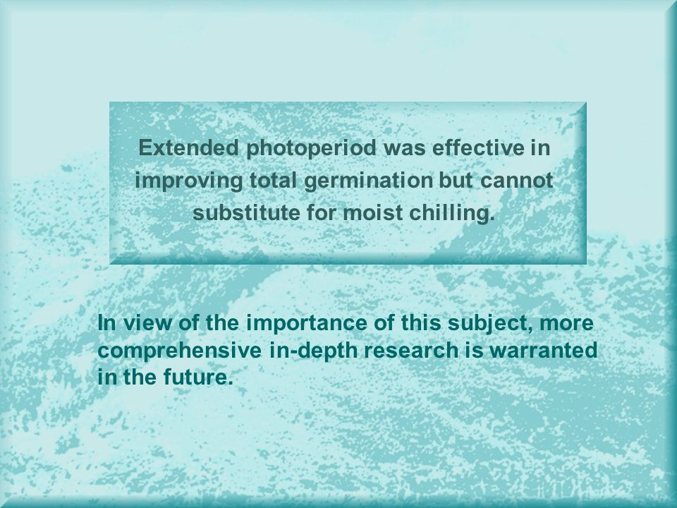 Extended photoperiod was effective in improving total germination but cannot substitute for moist chilling.