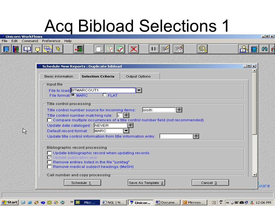 Acq Bibload Selections 1