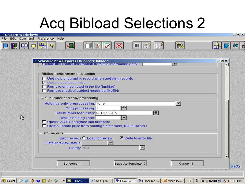 Acq Bibload Selections 2