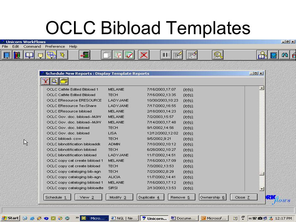 OCLC Bibload Templates