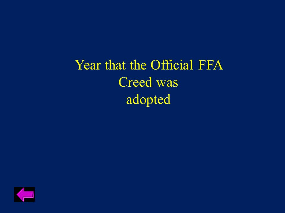Year the First National FFA Band performed at the National FFA Convention