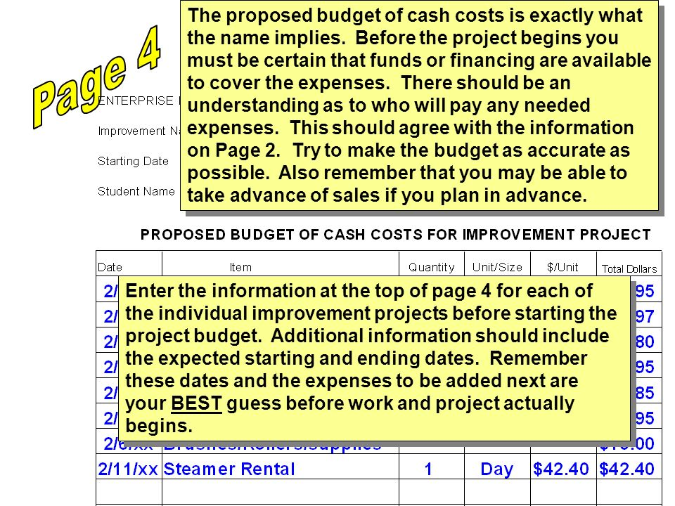 Enter the information at the top of page 4 for each of the individual improvement projects before starting the project budget. Additional information