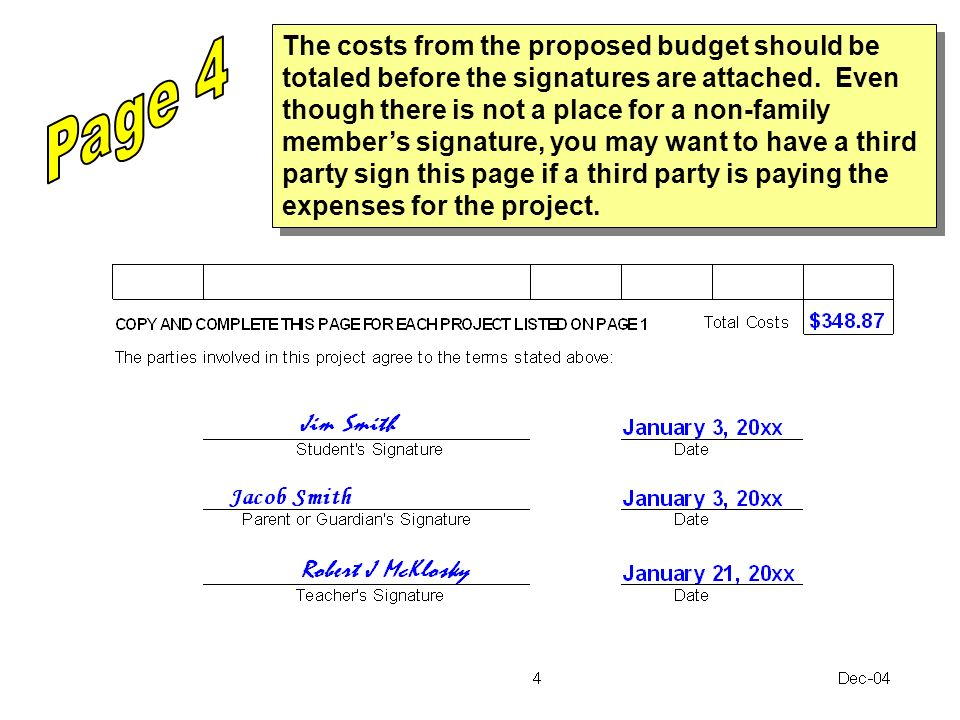 The costs from the proposed budget should be totaled before the signatures are attached. Even though there is not a place for a non-family members sig