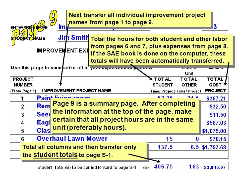 Page 9 is a summary page. After completing the information at the top of the page, make certain that all project hours are in the same unit (preferabl