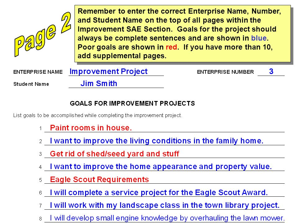 Remember to enter the correct Enterprise Name, Number, and Student Name on the top of all pages within the Improvement SAE Section. Goals for the proj