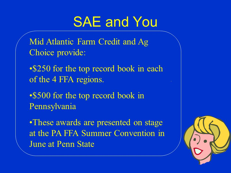SAE and You The best SAE books entered in the state CDE will receive gold, silver and bronze awards. The PA FFA Foundation awards a cash prize for the