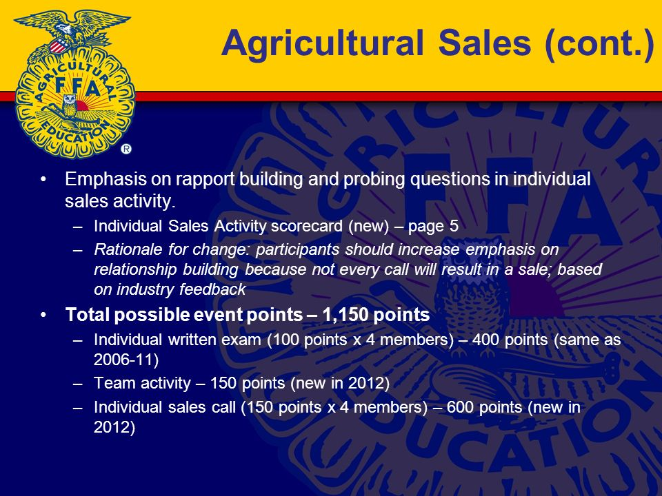 Agricultural Sales (cont.) Emphasis on rapport building and probing questions in individual sales activity.