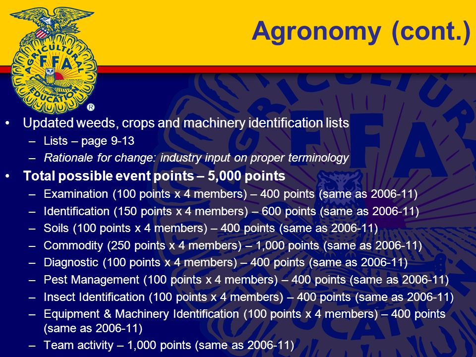 Agronomy (cont.) Updated weeds, crops and machinery identification lists –Lists – page 9-13 –Rationale for change: industry input on proper terminology Total possible event points – 5,000 points –Examination (100 points x 4 members) – 400 points (same as 2006-11) –Identification (150 points x 4 members) – 600 points (same as 2006-11) –Soils (100 points x 4 members) – 400 points (same as 2006-11) –Commodity (250 points x 4 members) – 1,000 points (same as 2006-11) –Diagnostic (100 points x 4 members) – 400 points (same as 2006-11) –Pest Management (100 points x 4 members) – 400 points (same as 2006-11) –Insect Identification (100 points x 4 members) – 400 points (same as 2006-11) –Equipment & Machinery Identification (100 points x 4 members) – 400 points (same as 2006-11) –Team activity – 1,000 points (same as 2006-11)