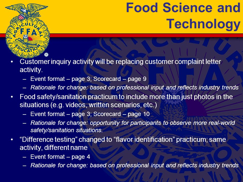 Food Science and Technology Customer inquiry activity will be replacing customer complaint letter activity.